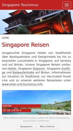 Vorschau der mobilen Webseite www.singapore-tourismus.de, Singapur-Tourismus