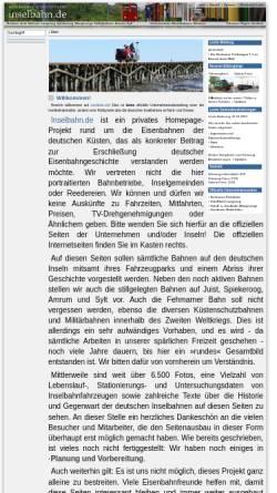 Vorschau der mobilen Webseite www.inselbahn.de, Inselbahn.de - Malte Werning