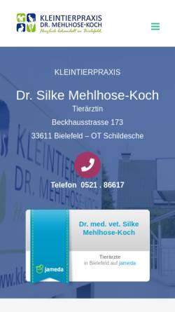 Vorschau der mobilen Webseite kleintierpraxis-bielefeld.de, Kleintierpraxis Dr. Silke Mehlhose-Koch