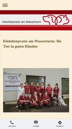 Vorschau der mobilen Webseite www.kleintierpraxis-wasserturm.de, Kleintierpraxis am Wasserturm Drs. B. und E. Gey