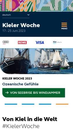 Vorschau der mobilen Webseite www.kieler-woche.de, Kieler Woche