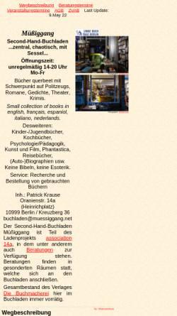 Vorschau der mobilen Webseite www.muessiggang.net, Müßiggang, Second-Hand-Buchladen