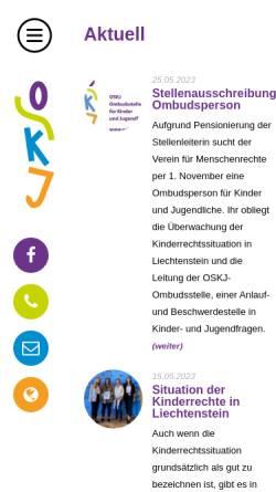 Vorschau der mobilen Webseite www.oskj.li, OSKJ - Ombudsstelle für Kinder und Jugendliche