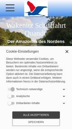 Vorschau der mobilen Webseite www.wakenitzfahrt.de, Wakenitz Schifffahrt Quandt