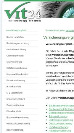 Vorschau der mobilen Webseite vit24.de, Vit 24 - Versicherungsvergleich, Inh. Mathias Grimm