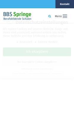 Vorschau der mobilen Webseite www.bbs-springe.de, Berufsbildende Schulen Springe