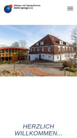 Vorschau der mobilen Webseite www.hvhs-springe.de, Heimvolkshochschule Springe e.V. - Bildungs- und Tagungszentrum