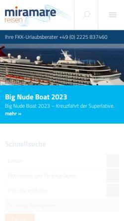 Vorschau der mobilen Webseite www.fkk-urlaub.de, Miramare Reisen