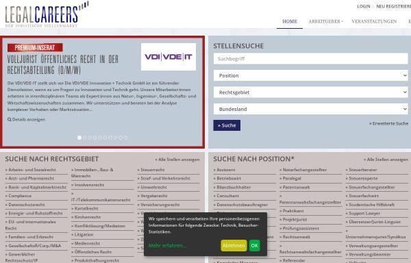 Vorschau von www.legalcareers.de, LegalCareers - Der juristische Stellenmarkt
