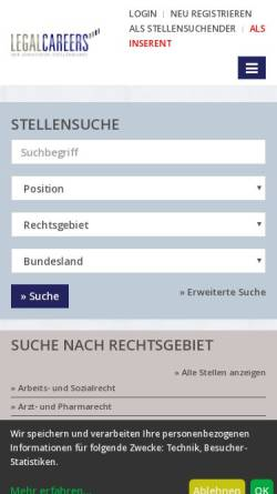 Vorschau der mobilen Webseite www.legalcareers.de, LegalCareers - Der juristische Stellenmarkt