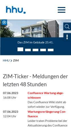 Vorschau der mobilen Webseite www.zim.hhu.de, Zentrum für Informations- und Medientechnologie (ZIM)
