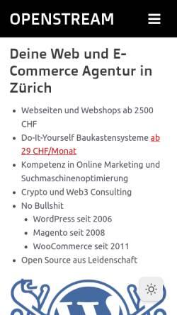 Vorschau der mobilen Webseite www.openstream.ch, Openstream Internet Solutions