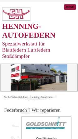 Vorschau der mobilen Webseite www.henning-autofedern.de, Henning-Autofedern