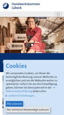 Vorschau der mobilen Webseite www.hwk-luebeck.de, Handwerkskammer Lübeck