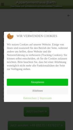 Vorschau der mobilen Webseite appartementhaus-barth.de, Appartementhaus B A R T H - Apparte-Hotel-Garni