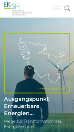 Vorschau der mobilen Webseite www.eksh.org, Gesellschaft für Energie und Klimaschutz Schleswig-Holstein GmbH