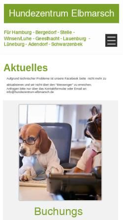 Vorschau der mobilen Webseite www.hundezentrum-elbmarsch.de, Hundezentrum Elbmarsch