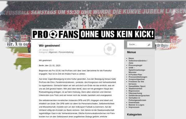 Vorschau von www.profans.de, Pro Fans