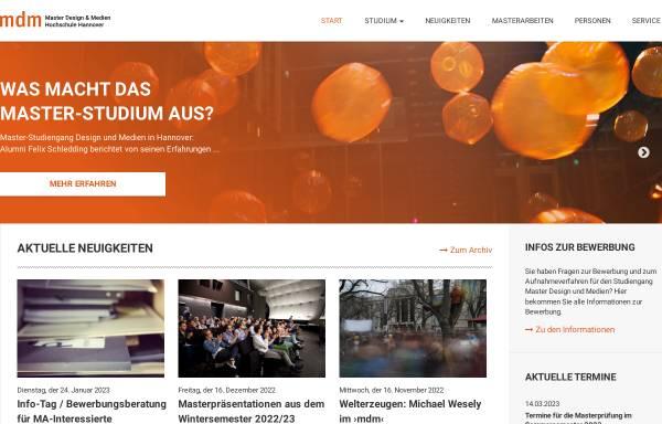 Vorschau von www.master-dm.de, Studium Master Design und Medien