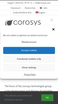 Vorschau der mobilen Webseite www.corosys.com, Corosys Prozeßsysteme und Sensoren GmbH