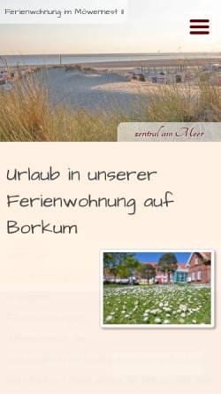 Vorschau der mobilen Webseite www.ferienwohnungborkum.de, Ferienwohnung Möwennest 2