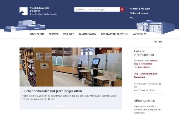 Vorschau von staatsbibliothek-berlin.de, Staatsbibliothek zu Berlin (SBB)