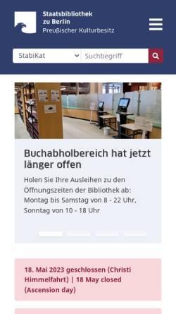 Vorschau der mobilen Webseite staatsbibliothek-berlin.de, Staatsbibliothek zu Berlin (SBB)