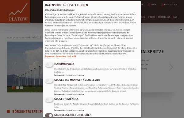 Vorschau von www.platow.de, Platow Online - Springer Fachmedien Wiesbaden GmbH