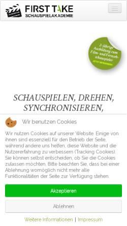 Vorschau der mobilen Webseite firsttake-schauspielakademie.de, First Take Schauspielakademie