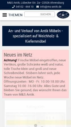 Vorschau der mobilen Webseite www.ms-antik.de, M & S Antiquitäten