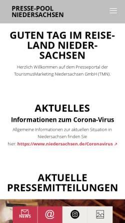 Vorschau der mobilen Webseite www.presse-niedersachsen.de, Presse-pool Niedersachsen - TourismusMarketing Niedersachsen GmbH (TMN)