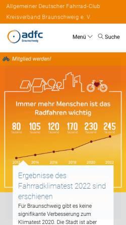 Vorschau der mobilen Webseite www.adfc-braunschweig.de, ADFC Kreisverband Braunschweig e.V.