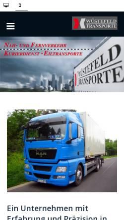 Vorschau der mobilen Webseite www.wuestefeld-transporte.de, Andreas Wüstefeld Transporte, Inh. Thomas Wüstefeld
