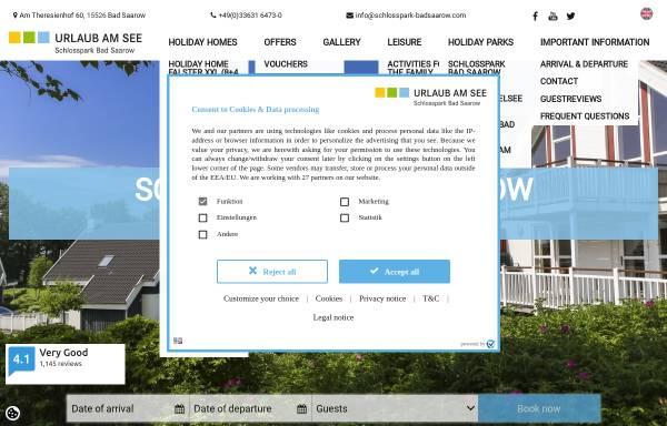Vorschau von www.schlosspark-badsaarow.com, Ferienpark Schlosspark Bad Saarow