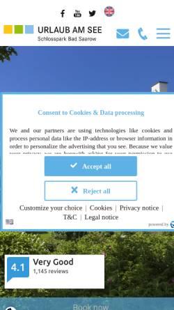 Vorschau der mobilen Webseite www.schlosspark-badsaarow.com, Ferienpark Schlosspark Bad Saarow