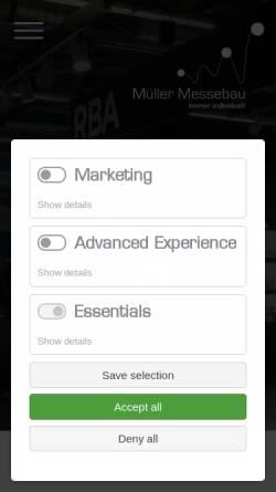 Vorschau der mobilen Webseite mueller-messebau.de, Müller Messebau