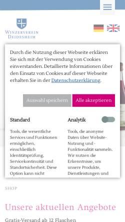 Vorschau der mobilen Webseite www.weingalerie-deidesheim.de, Vinothek & Weinhandlung für Weine aus Deidesheim