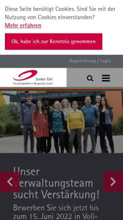 Vorschau der mobilen Webseite www.junioruni-wuppertal.de, Junior Uni - Forscherplattform Bergisches Land