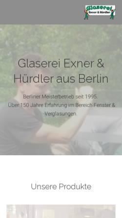 Vorschau der mobilen Webseite www.glaserei-exner-huerdler.de, Glaserei Exner und Hürdler