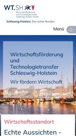 Vorschau der mobilen Webseite wtsh.de, Wirtschaftsförderung und Technologietransfer Schleswig-Holstein GmbH