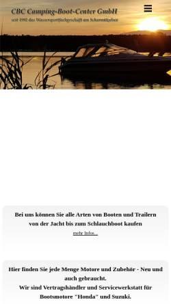 Vorschau der mobilen Webseite www.cbc-boot.de, CBC Camping-Boot-Center GmbH
