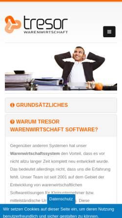 Vorschau der mobilen Webseite www.tresor-warenwirtschaft.de, Tresor Software GmbH