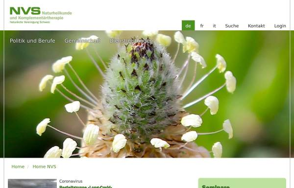 Vorschau von www.naturaerzte.ch, Naturärzte-Vereinigung der Schweiz (NVS)
