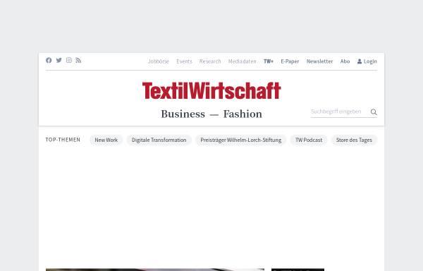 Vorschau von www.textilwirtschaft.de, TextilWirtschaft - Deutscher Fachverlag GmbH