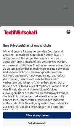 Vorschau der mobilen Webseite www.textilwirtschaft.de, TextilWirtschaft - Deutscher Fachverlag GmbH