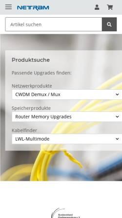 Vorschau der mobilen Webseite www.netram.de, Netram Memory GmbH