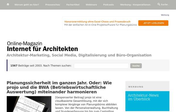 Vorschau von www.internet-fuer-architekten.de, Internet für Architekten