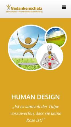 Vorschau der mobilen Webseite www.gedankenschatz.de, Gedankenschatz Bewusstseinszentrum 2012