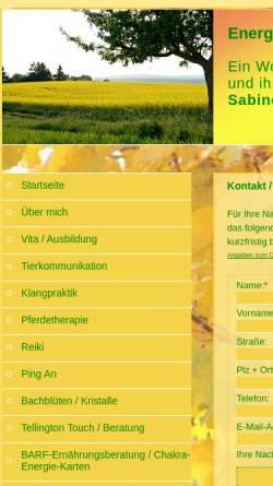 Vorschau der mobilen Webseite www.energiearbeit-mit-tieren.com, Energiearbeit mit Tieren