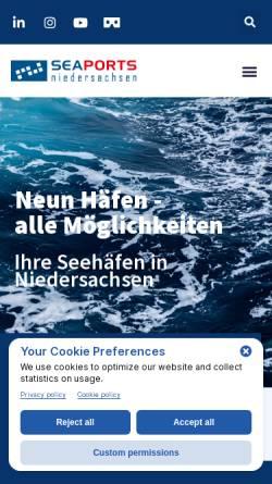 Vorschau der mobilen Webseite www.seaports.de, Seaports of Niedersachsen GmbH